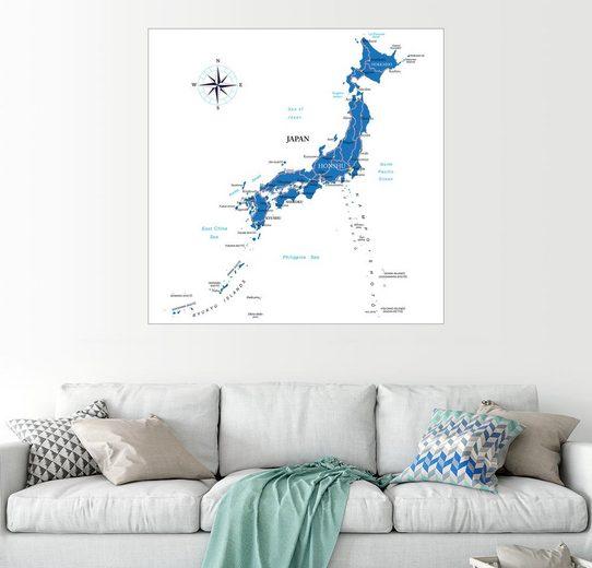 Posterlounge Wandbild »Karte Japans«