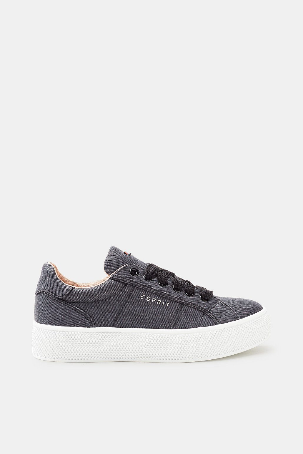 Esprit Retro-Sneaker in Leder-Optik für Damen, Größe 37, Medium Grey