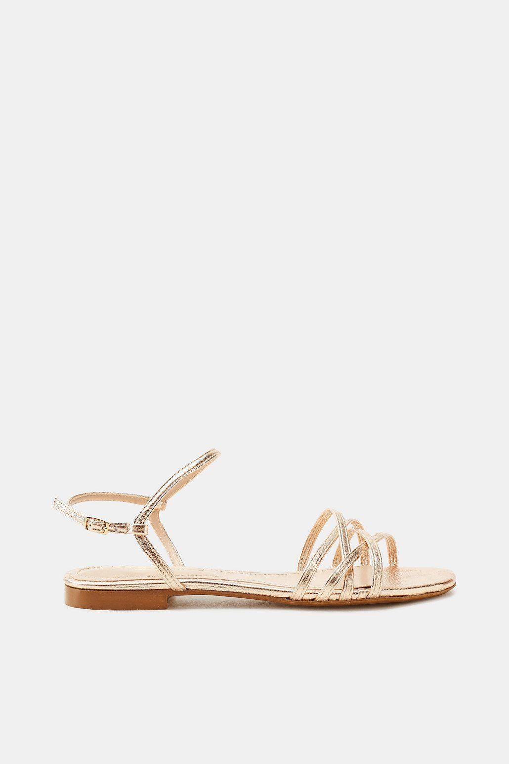 Esprit Flache Sandale im Metallic-Look für Damen, Größe 39, Turquoise