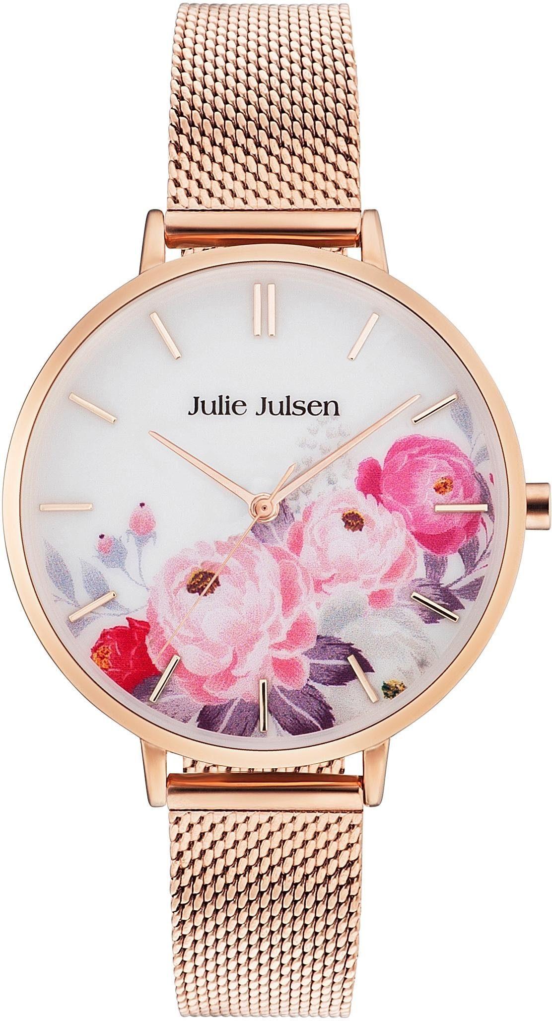 Julie Julsen Quarzuhr »Flower Rosé Mesh, JJW11RGME«