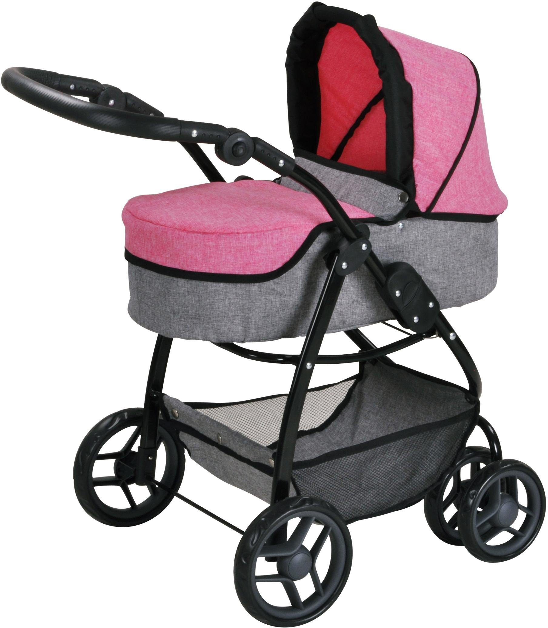 knorr toys Puppenwagen, 2-in-1, »Coco - jeans pink«