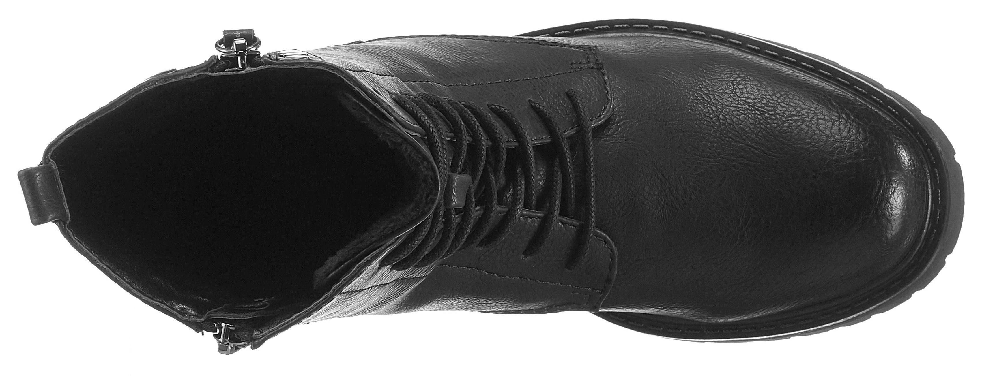 Tom Tailor Schnürstiefelette, mit Zierreißverschluss außen online kaufen  schwarz