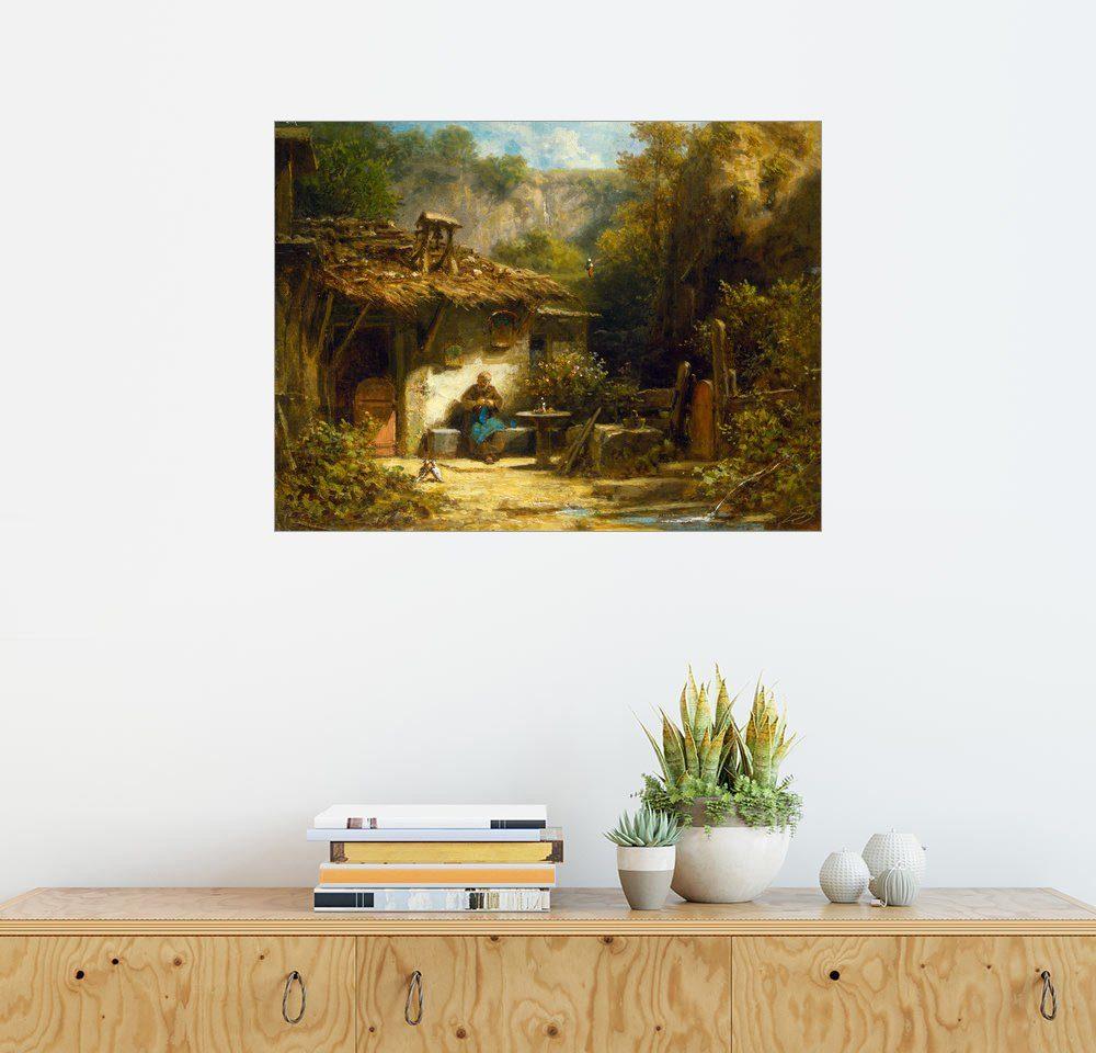Posterlounge Wandbild - Carl Spitzweg »Strickender Einsiedler«