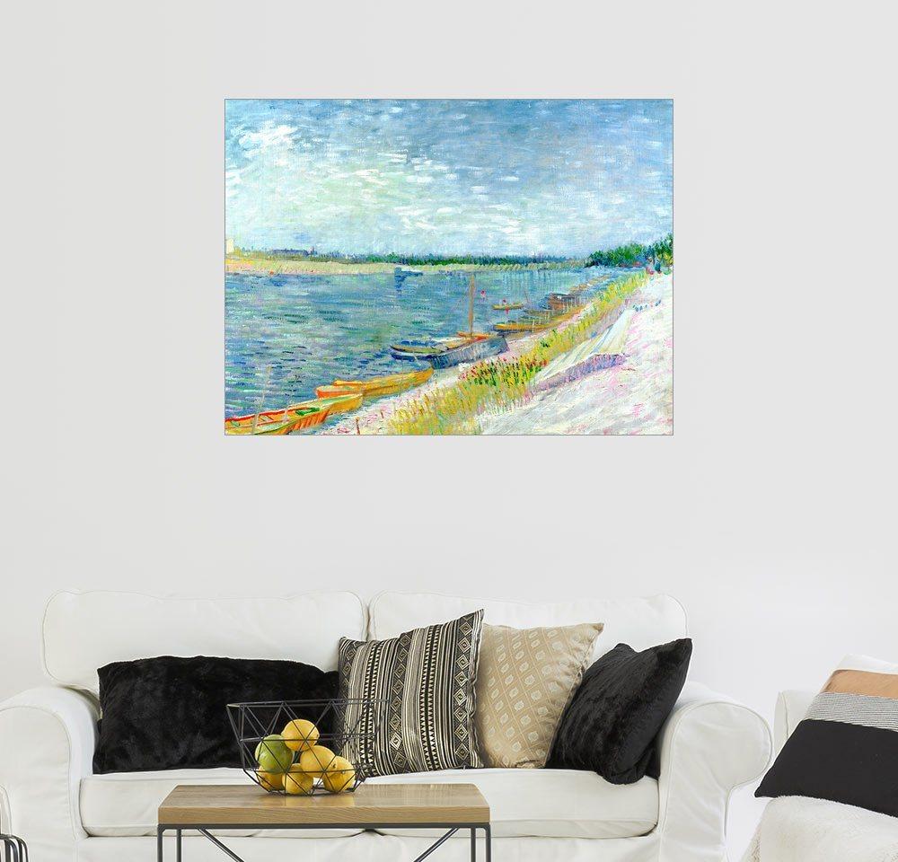 Posterlounge Wandbild - Vincent van Gogh »Festgemachte Boote« | Dekoration > Bilder und Rahmen > Bilder | Holz | Posterlounge