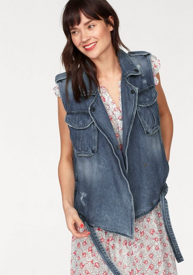 LTB Jeansweste »PIXIE« mit Used-Effekten | Bekleidung > Westen > Jeanswesten | Blau | LTB