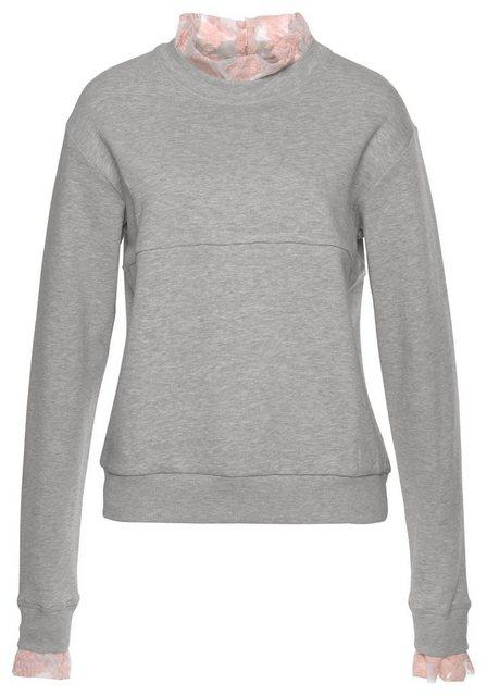 Damen LTB Sweatshirt MIBELE mit Spitzeneinsatz grau | 08697600733050
