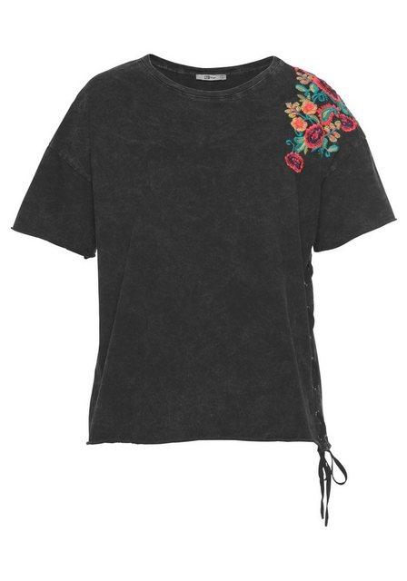 Damen LTB T-Shirt KOTAWE mit Blumenstickerei grau | 08697600695679