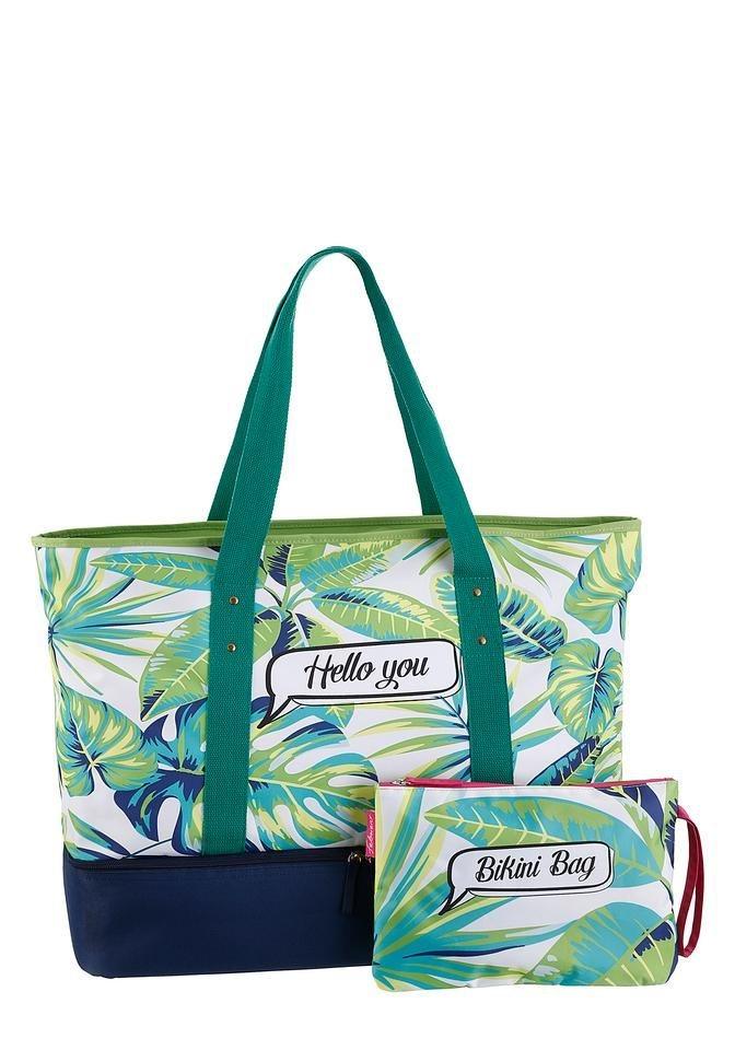 Damen fabrizio®  Strandtasche mit Kühlfach und gratis Bikini Bag grün | 04002282153425
