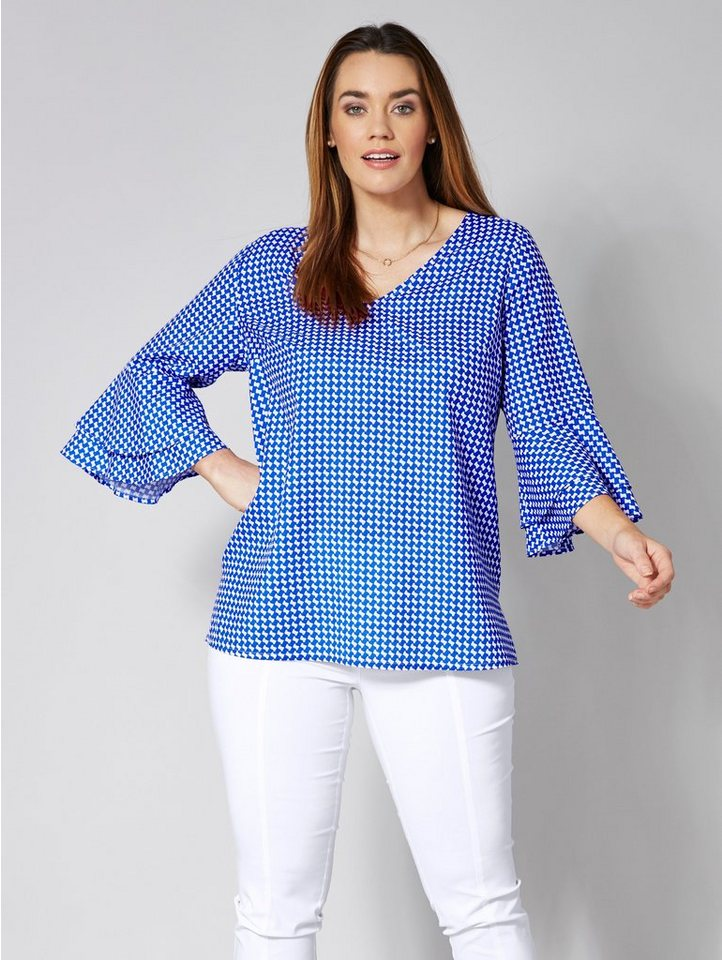 Sara Lindholm by Happy Size Bluse mit Allover-Print & Volants