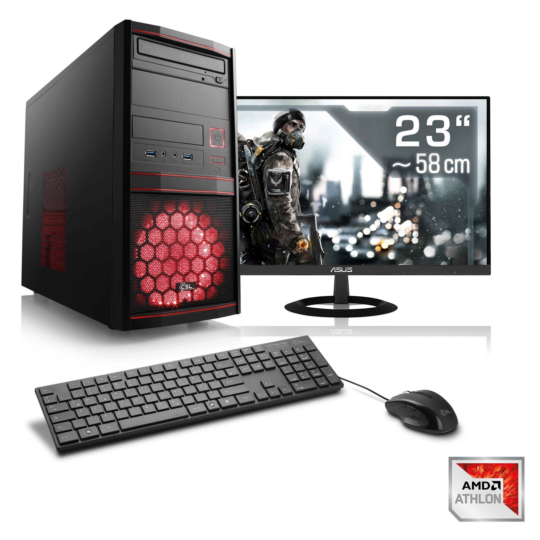 "CSL Gaming PC Set   X4 950   GTX 1050 Ti   8GB RAM   SSD   23"" TFT »Sprint T4879 Windows 10 Home«"