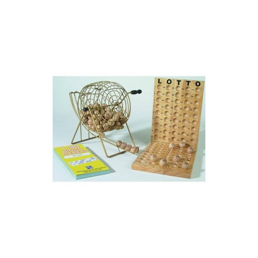 Bingo aus Holz mit Metallkorb