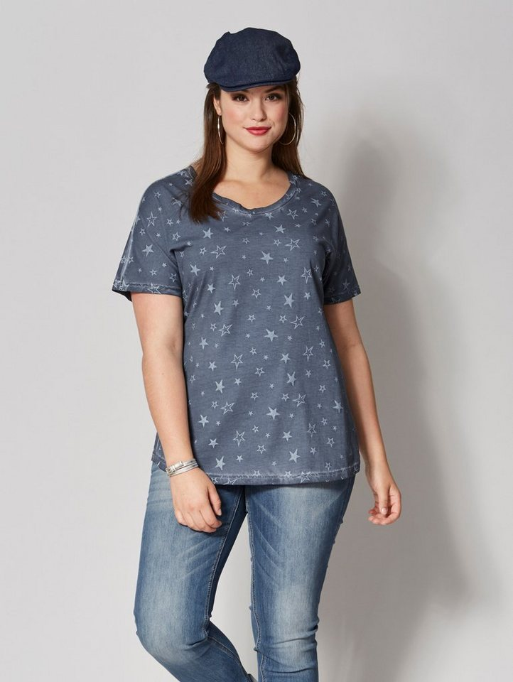 Angel of Style by Happy Size Shirt oil wash mit Allover-Print