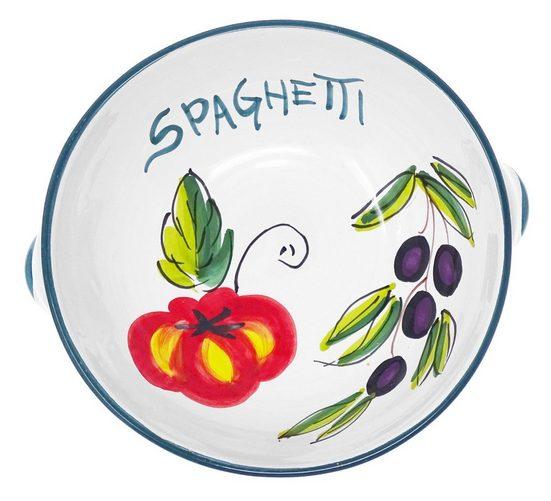 Lashuma Servierschüssel, Keramik, Pastaschale rund, Handgemachte Salatschüssel mit Griffen