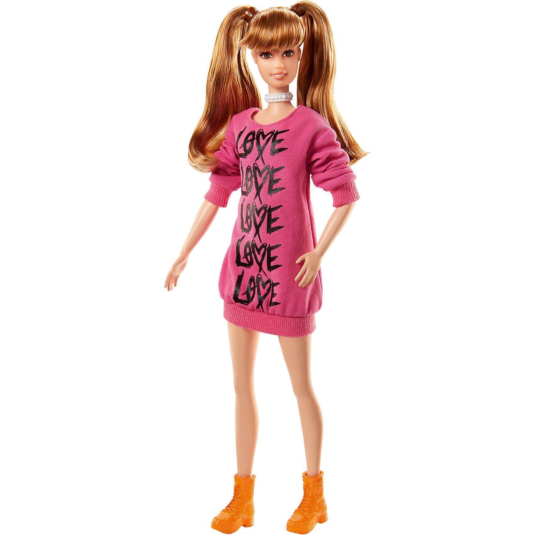 Mattel Barbie Fashionista Puppe mit Zöpfen im pinken Pullover-Kleid