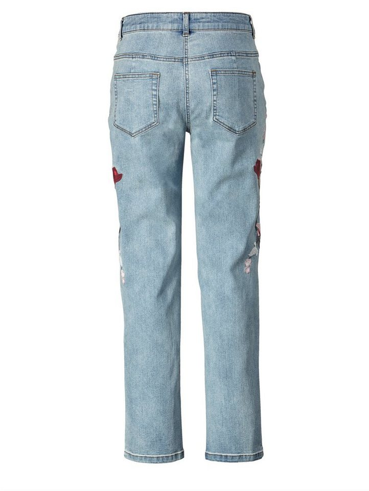Angel of Style by Happy Size Slim Fit Jeans mit Stickerei
