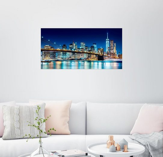 Posterlounge Wandbild - Sascha Kilmer »New York leuchtende Skyline«