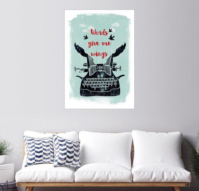 Posterlounge Wandbild - Sybille Sterk »Worte geben mir Flügel« | Dekoration > Bilder und Rahmen > Bilder | Bunt | Holz - Aluminium | Posterlounge
