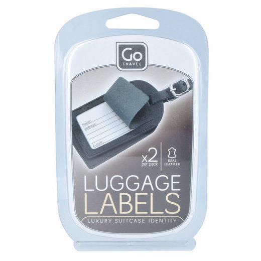 Go Travel Luggage Labels Kofferanhänger Set 2tlg. Leder 10 cm