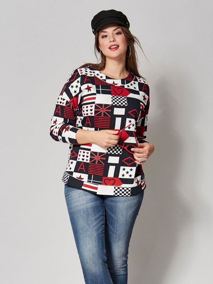 Angel of Style by Happy Size Sweatshirt mit Allover-Print