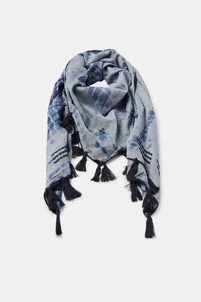 ESPRIT Batik-Tuch mit Troddeln, 100% Baumwolle
