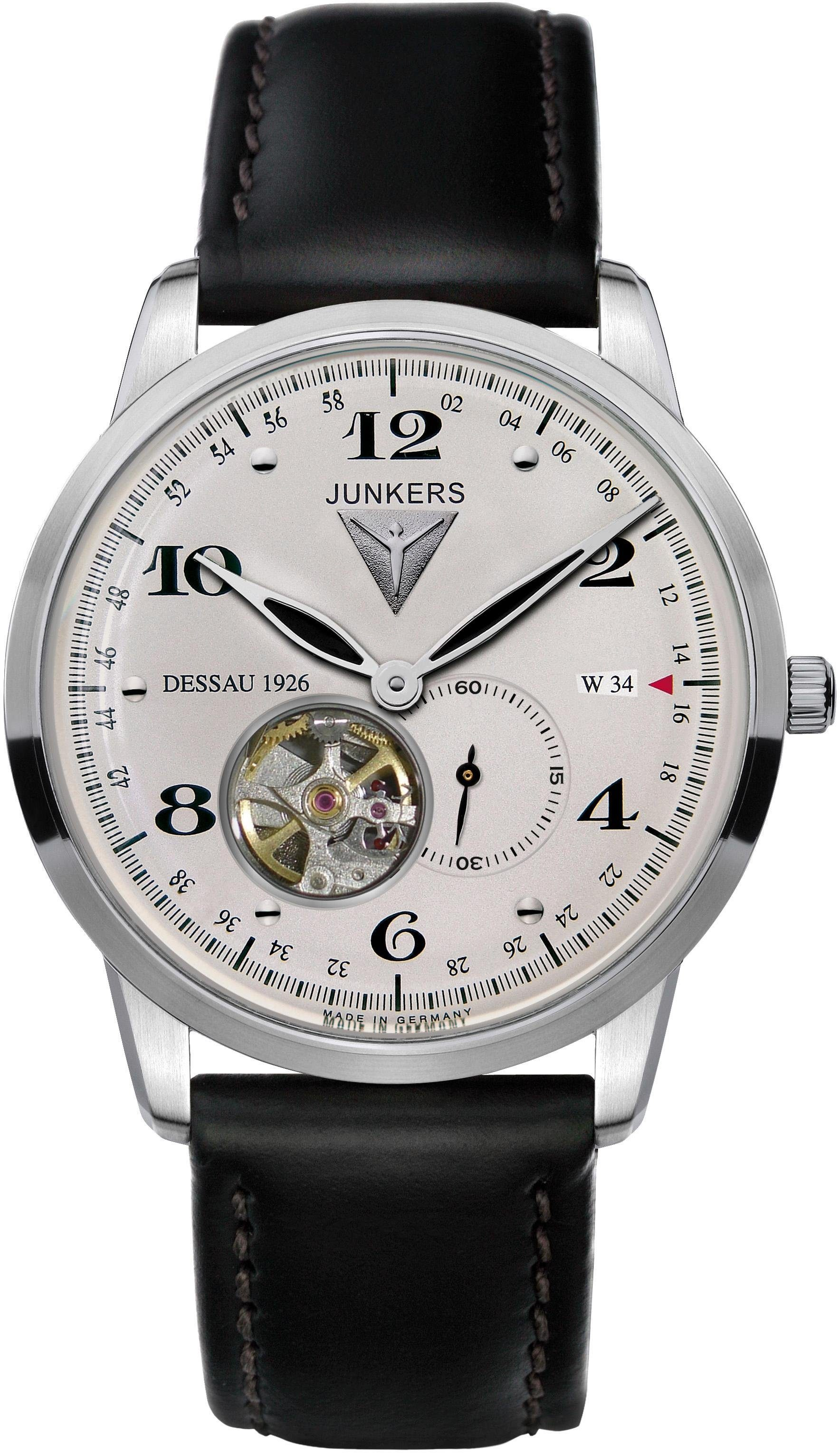 Junkers-Uhren Automatikuhr »Junkers Dessau 1926 Flatline, 6360-4« made in Germany