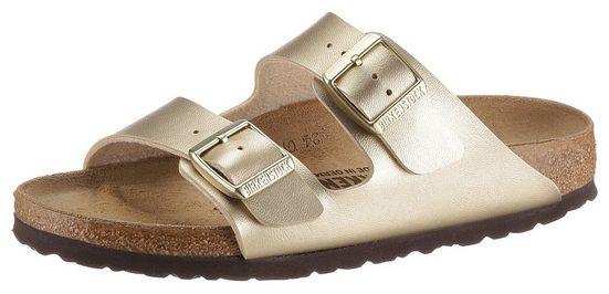 Birkenstock »Arizona« Pantolette aus glänzendem Birko-Flor, Schuhweite: schmal