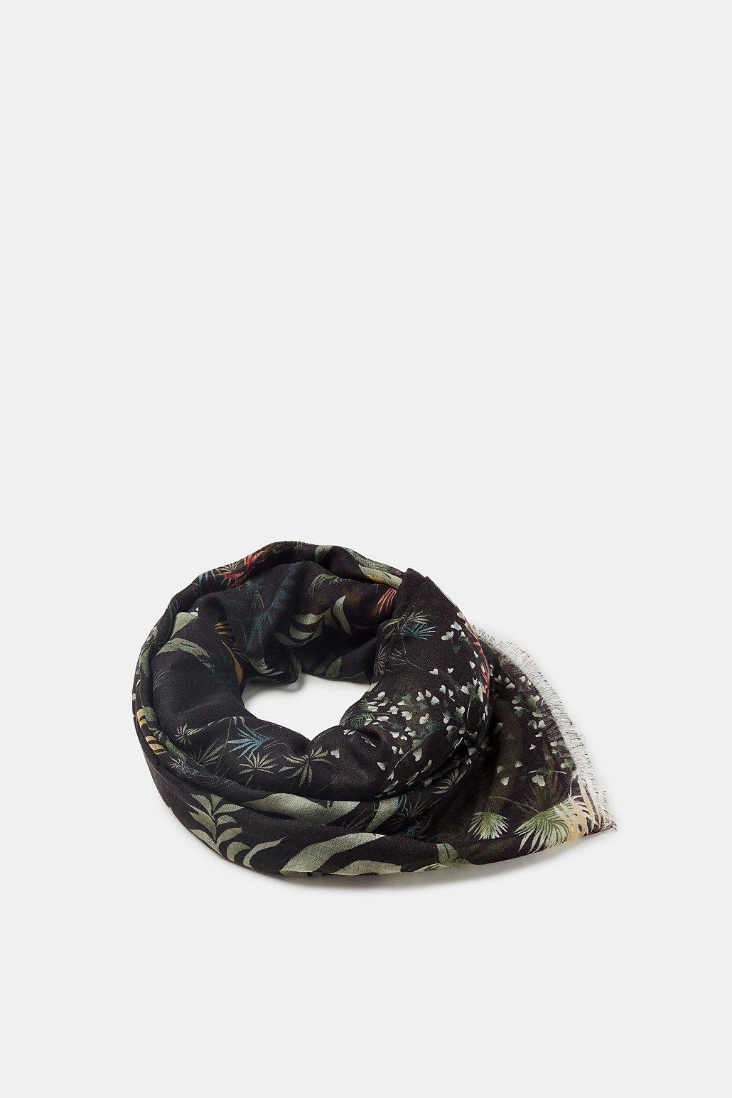 ESPRIT Transparenter Web-Schal mit Botanik-Print