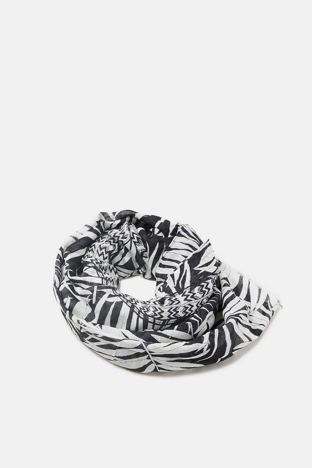 ESPRIT Transpartenter Print-Schal mit Leinen