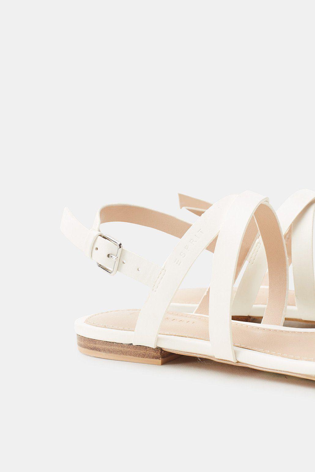 ESPRIT Flache Sandale in Leder-Optik online kaufen  WHITE