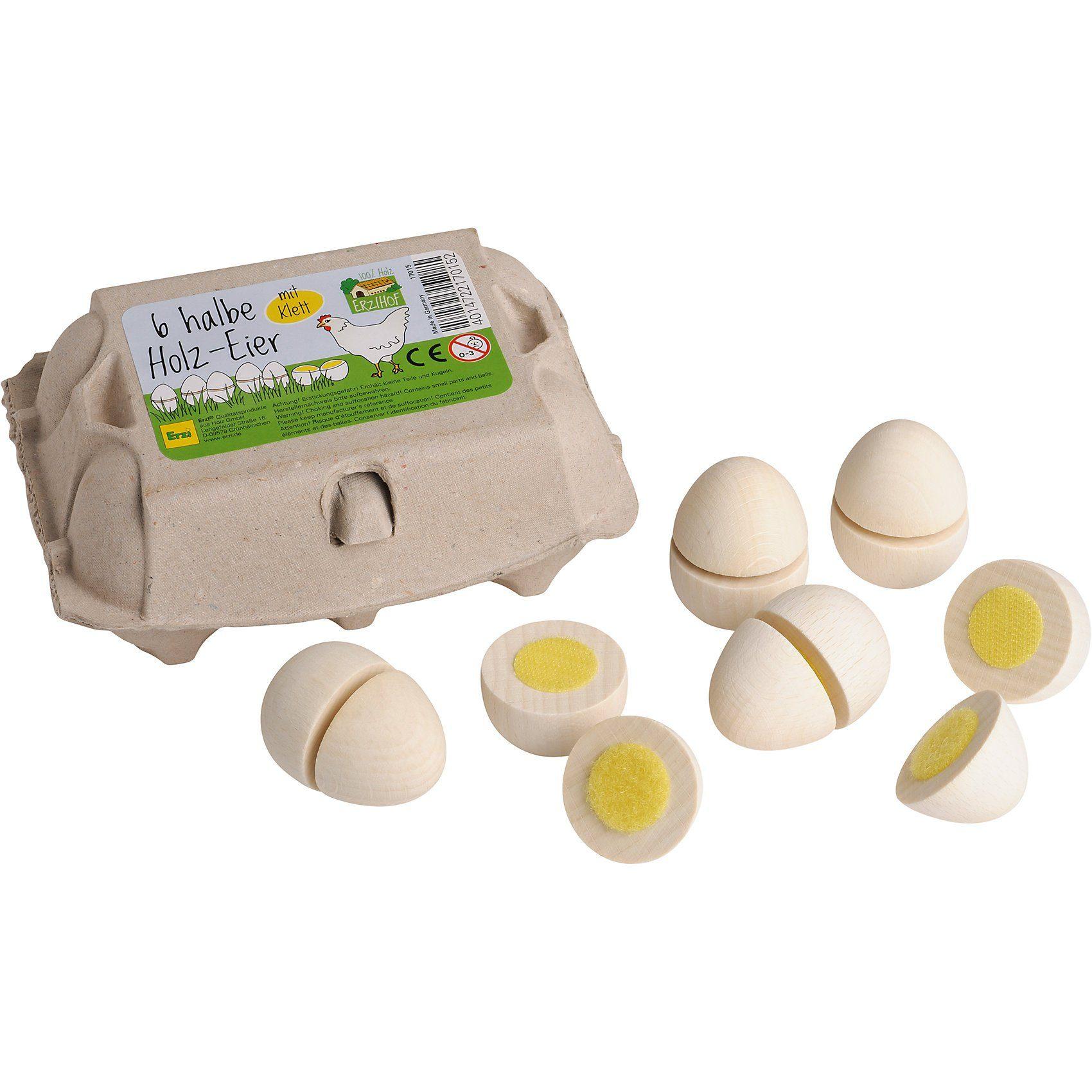 Erzi® Ei zum Schneiden (6 Stück; wei) Spiellebensmittel