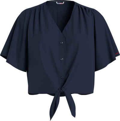 Tommy Jeans Kurzarmbluse »TJW SS Front Knot Cropped Shirt« mit modischem Knotendetail am Saum