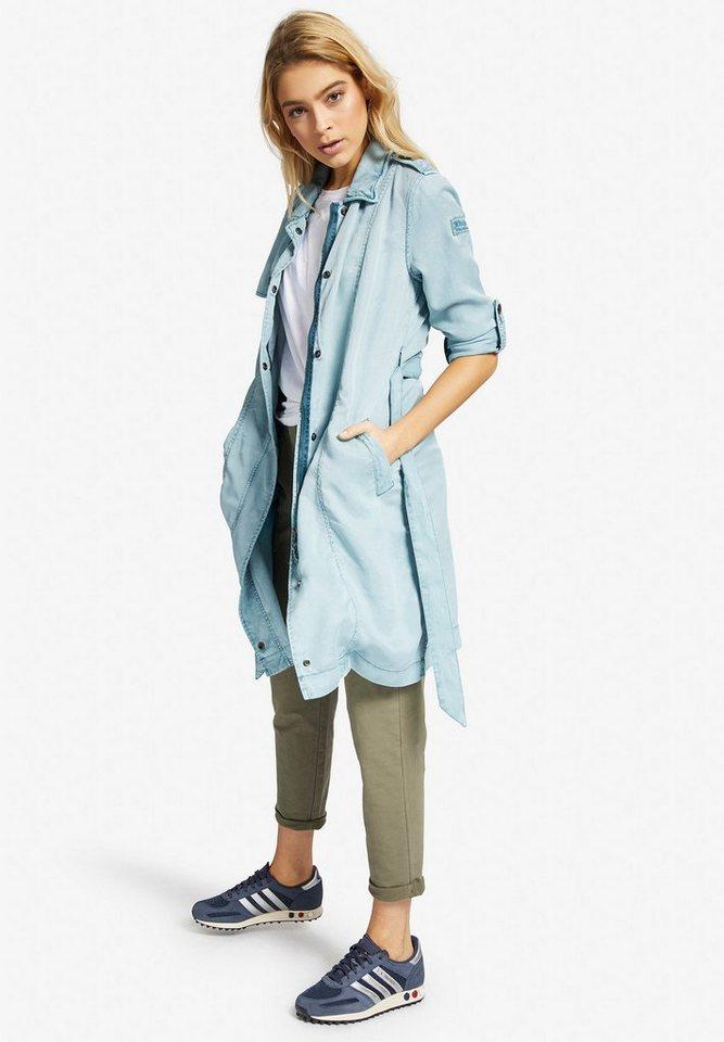khujo Trenchcoat »MITUVIA WITH BELT« mit Riegeln zum Umschlagen der Ärmel | Bekleidung > Mäntel > Trenchcoats | Blau | khujo