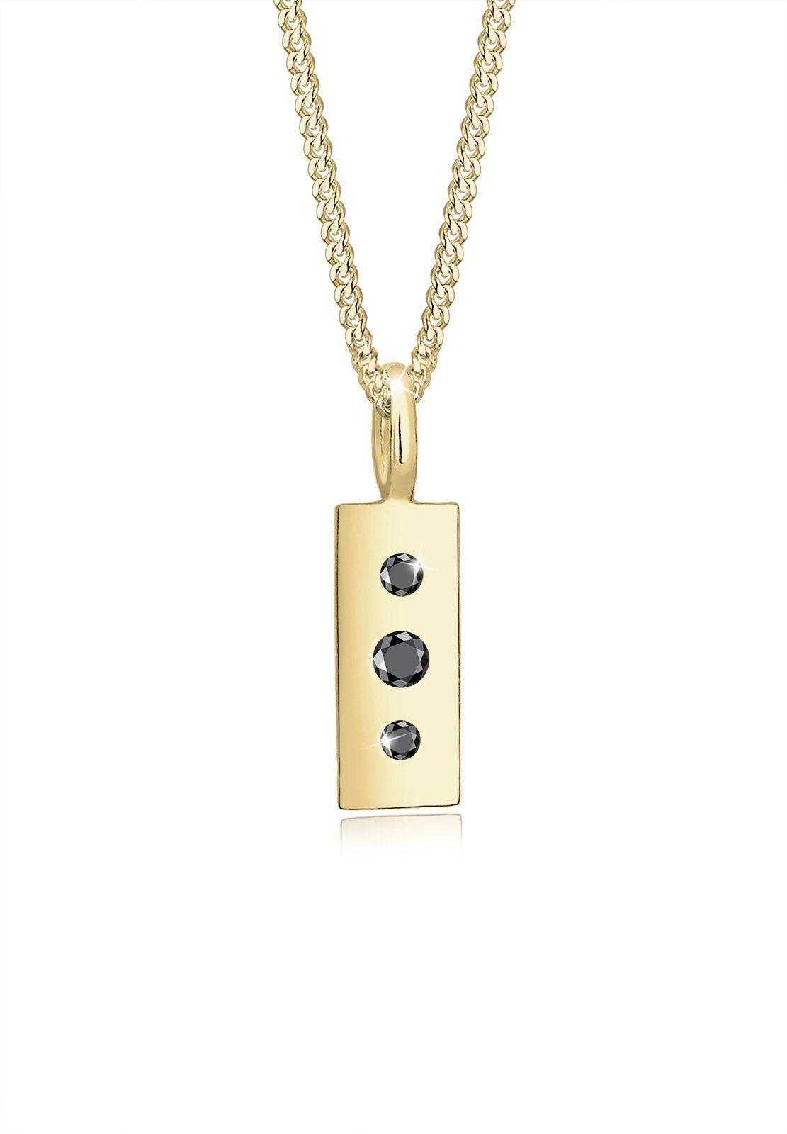 Elli Halskette »Geo Schwarzer Diamant (0.07 ct.) 375 Gelbgold«