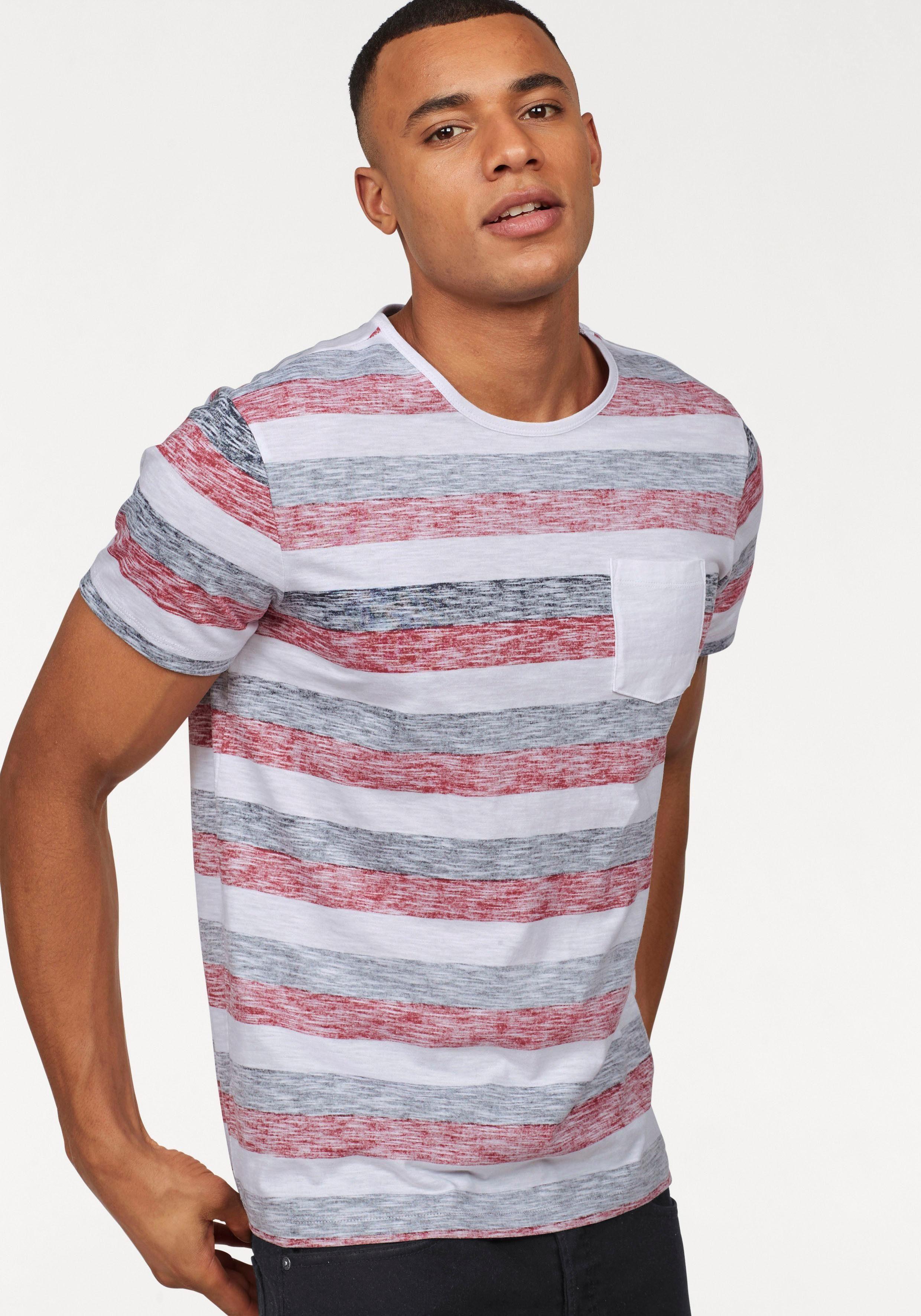 John Devin T Shirt mit Inside out Print, Rundhals Shirt mit modischem Streifen online kaufen   OTTO