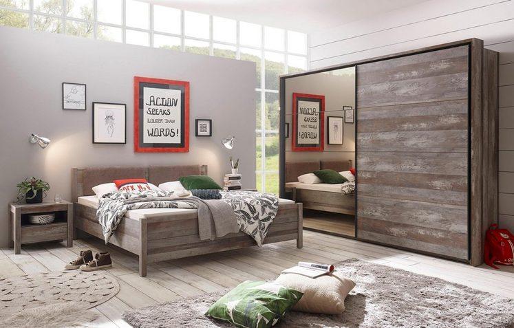 Schlafzimmer-Set (4-tlg.), Schrank Mit Bronzespiegel