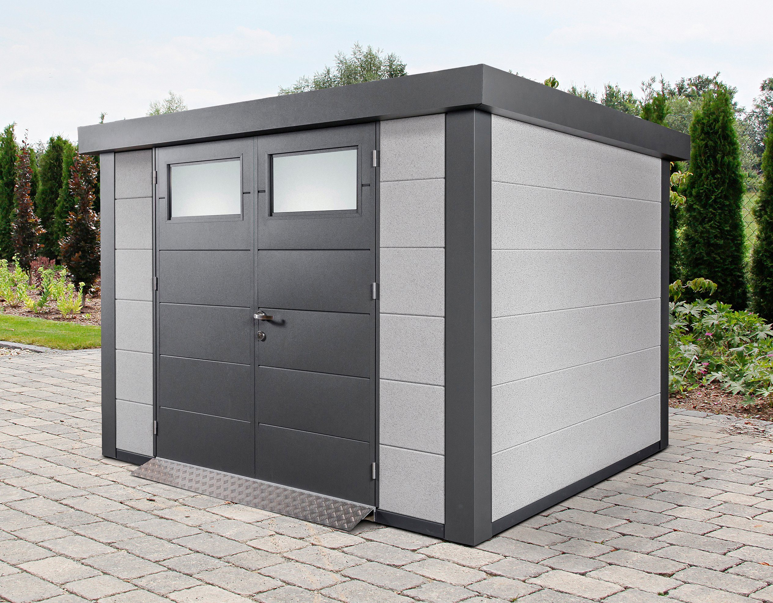 WOLFF Stahlgerätehaus »Eleganto 3024«, BxT: 318x258 cm, Dekorputz weiß | Garten > Gerätehäuser | Wolff