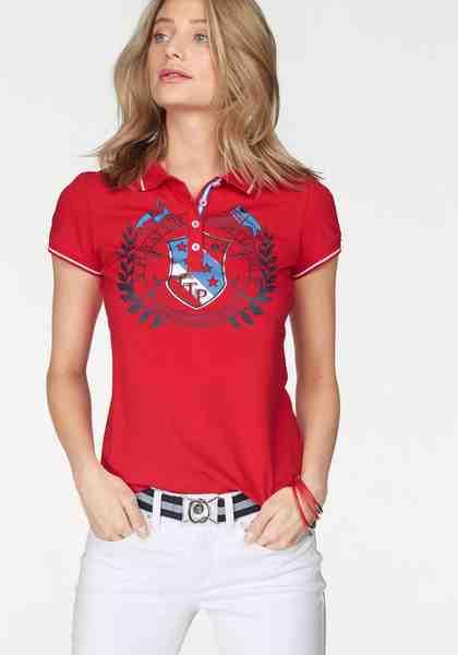 TOM TAILOR Polo Team Poloshirt mit großen Print und metallic Details vorne