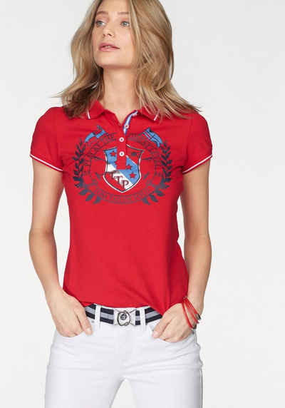 Tom Tailor Polo Team Poloshirt mit großen Print und metallic Details vorne a7b5177b9f