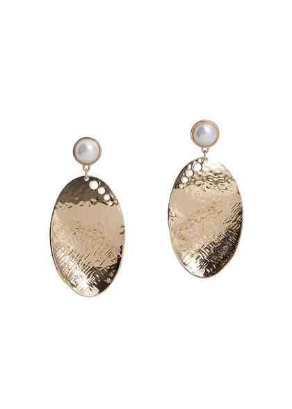 MANGO Metall-Ohrringe mit Perlen-Detail