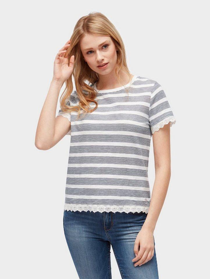 Tom Tailor Denim T-Shirt »Gestreiftes T-Shirt mit Spitzenbordüre ... e93c84df52