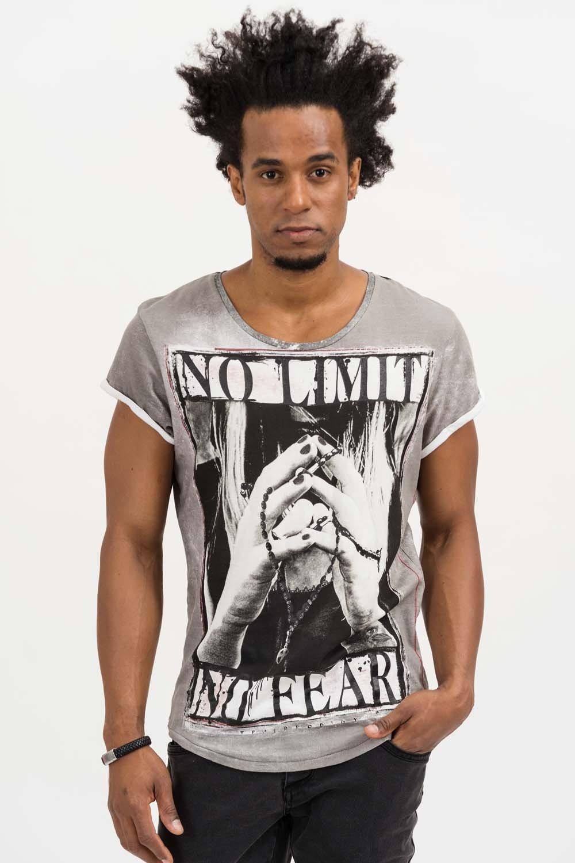 Herren trueprodigy T-Shirt No Limit, No Fear grau | 04057124035964