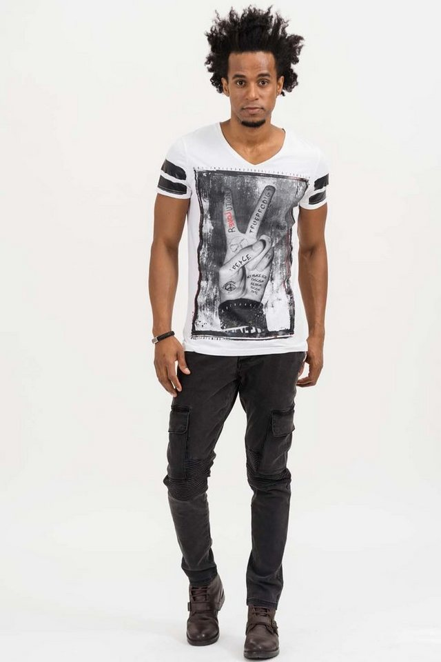 - Herren trueprodigy T-Shirt Peace weiß | 04057124039221
