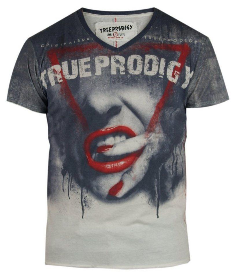 - Herren trueprodigy T-Shirt Red Lips V-Neck weiß | 04057124000603