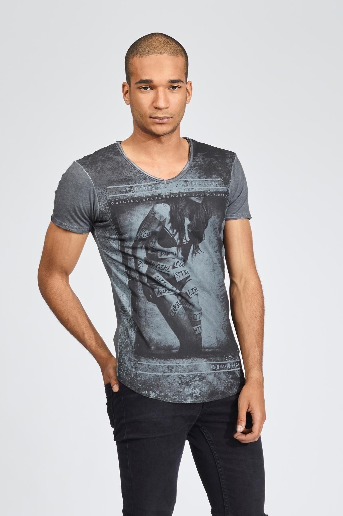 Herren trueprodigy T-Shirt Labeled Girl grau | 04057124012156