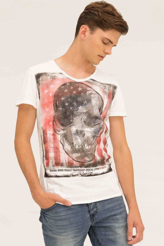 Herren trueprodigy T-Shirt Skull weiß | 04057124002201