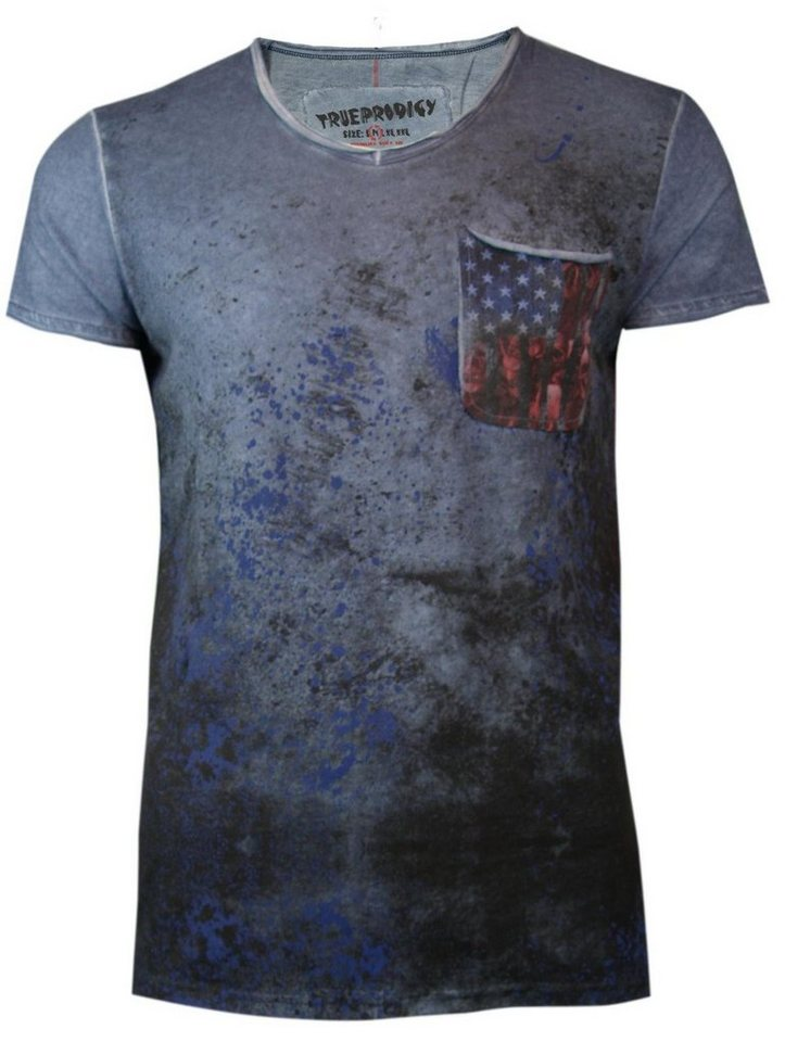 - Herren trueprodigy T-Shirt American Pocket blau   04057124013504