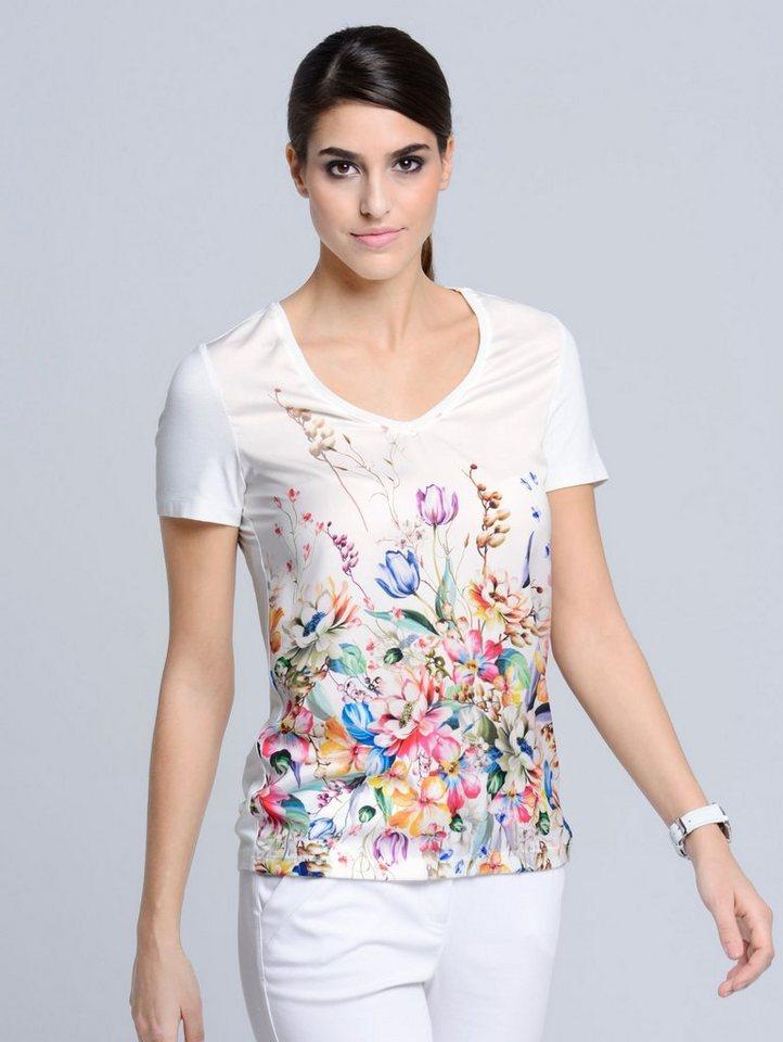 Damen Alba Moda T-Shirt mit floralem Print im Vorderteil weiß | 04055716484794