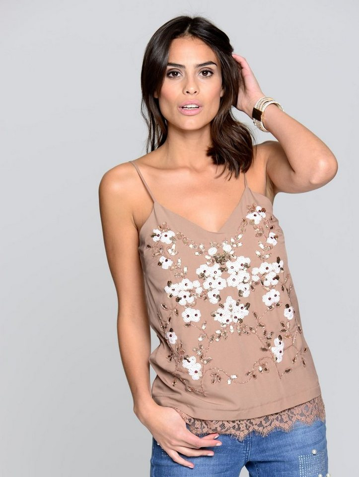 Damen Alba Moda  Top mit Blumenstickerei aus Pailletten rosa | 04055716394543
