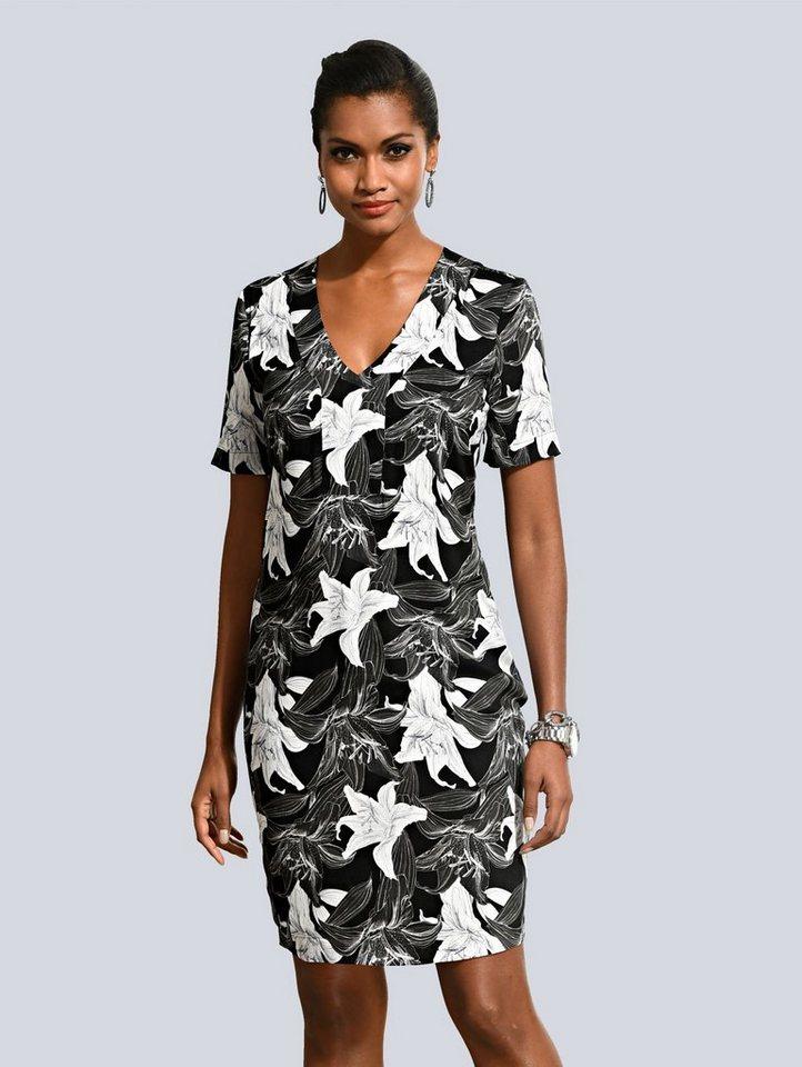 Damen Alba Moda  Tunikakleid mit attrativem Lilien-Muster allover schwarz | 04055716466806