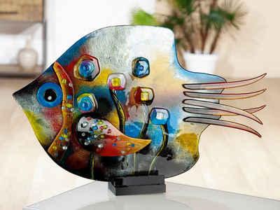 GILDE GLAS art Dekofigur »Skulptur Fisch Fresh Flowers« (1 Stück), Dekoobjekt, Tierfigur, Höhe 39,5 cm, aus durchgefärbten Glas, in Handarbeit gefertigt & handbemalt, Wohnzimmer